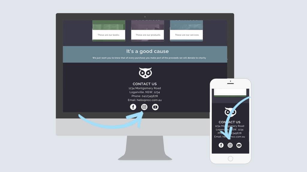 website homepage social links free templates
