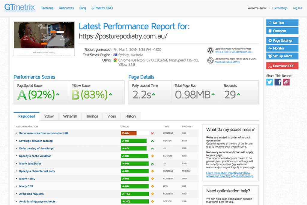 Posture Podiatry's website performance report. Our web builds get top speeds and performance | Newcastle Creative Co
